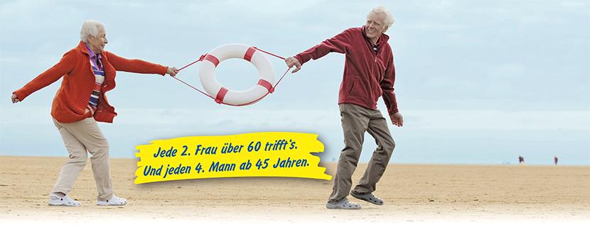 Jede 2. Frau über 60 trifft's und jeden 4. Mann ab 45 Jahren